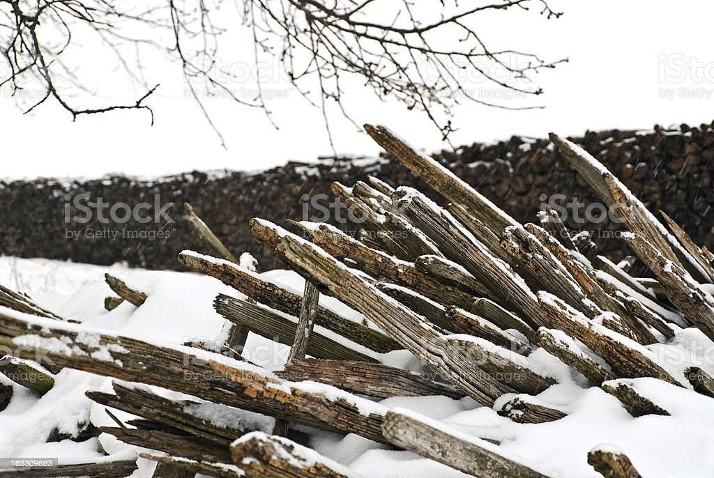 lath stuck in snow royalty-free stock photo