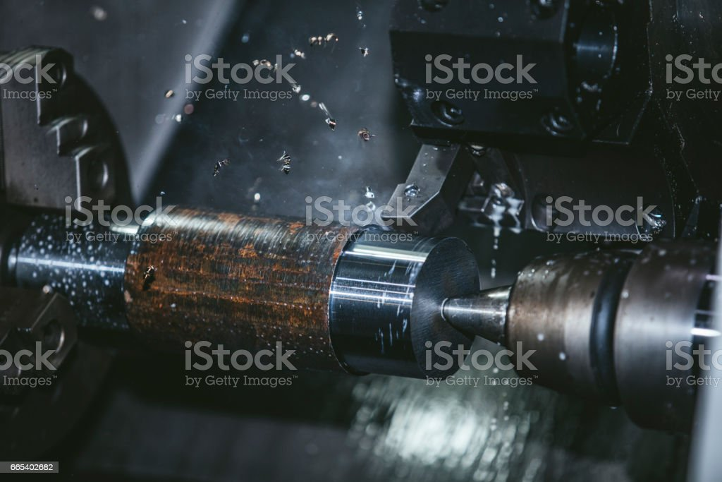 Lathe equipment in the factory manufacturing metal structures and...