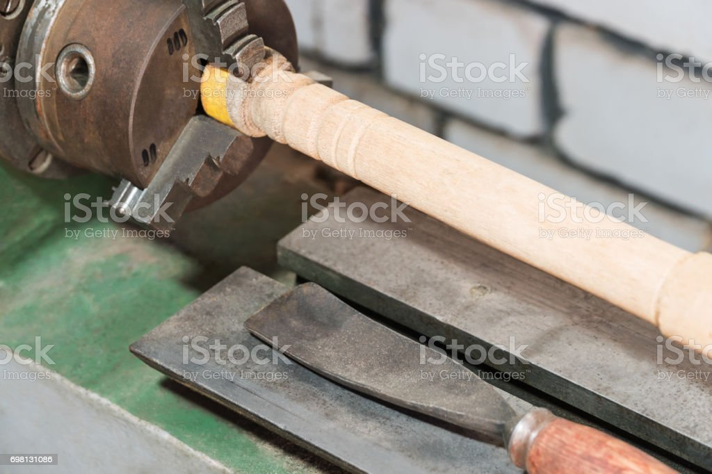 Lathe for wood processing stock photo