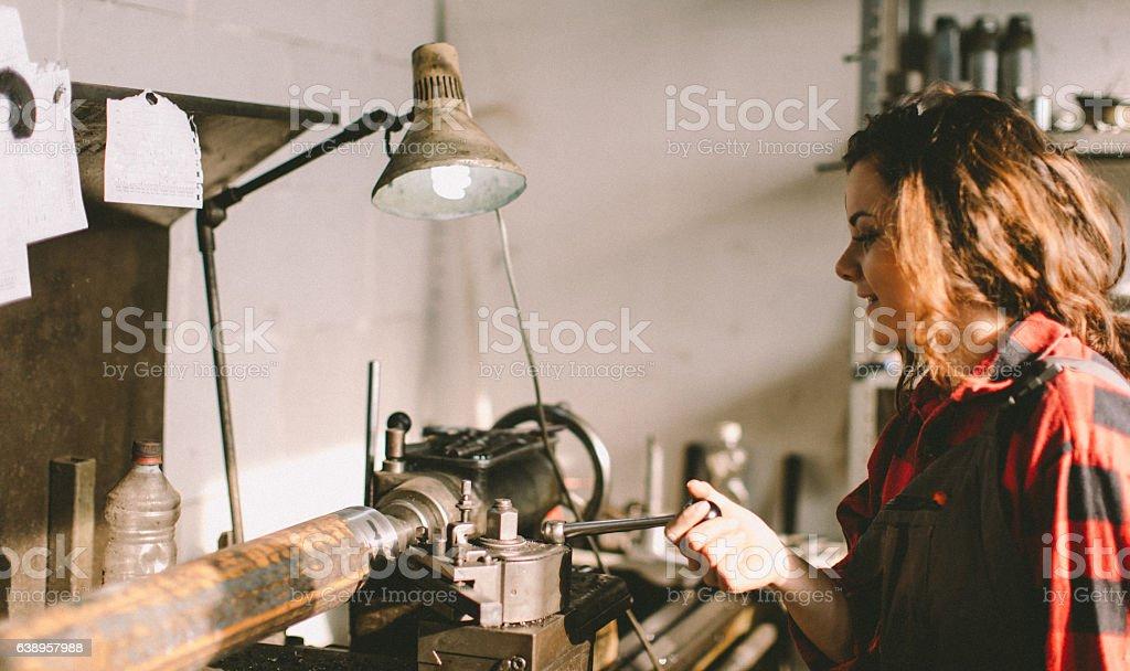 Lathe machine... stock photo