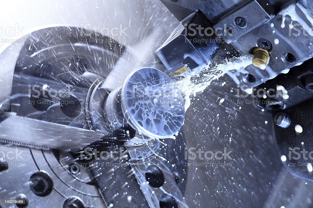 CNC lathe processing stock photo