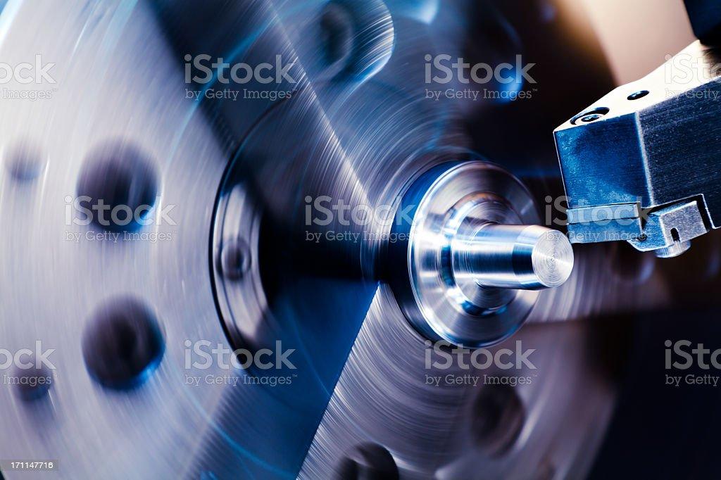 CNC lathe processing royalty-free stock photo