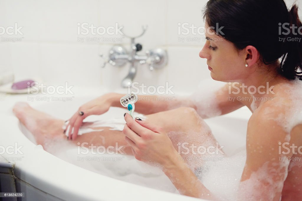 Lather up and shave stock photo
