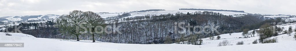 Lathkill dale Panorama in the snow stock photo