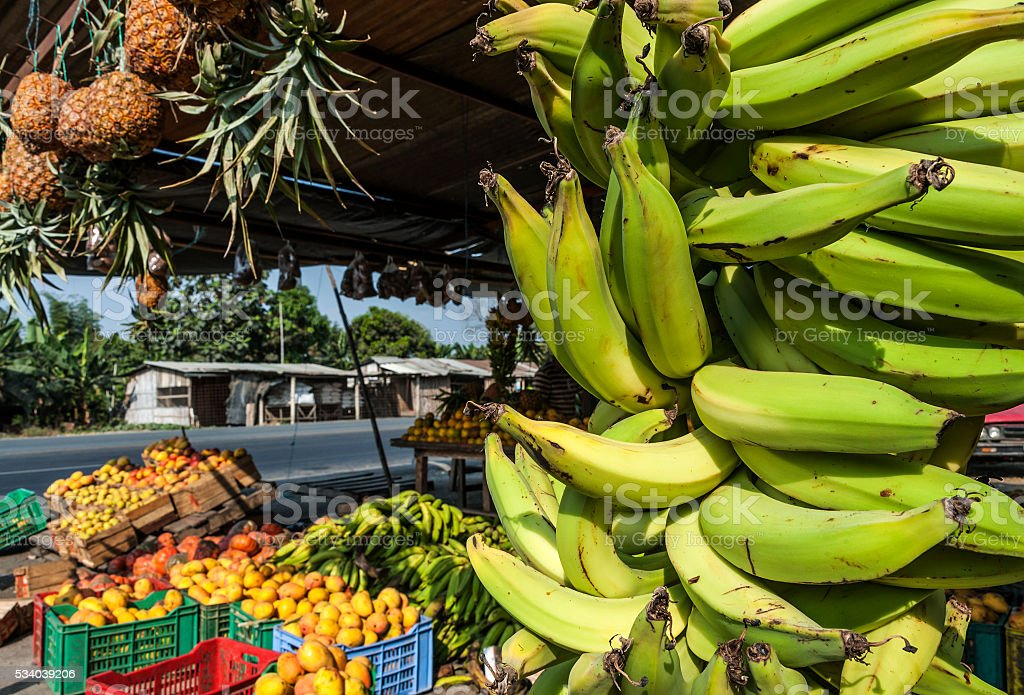 Latin America street market, Ecuador stock photo