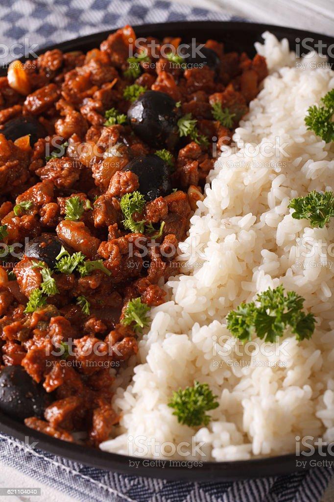 Latin American cuisine: Picadillo a la habanera with rice stock photo