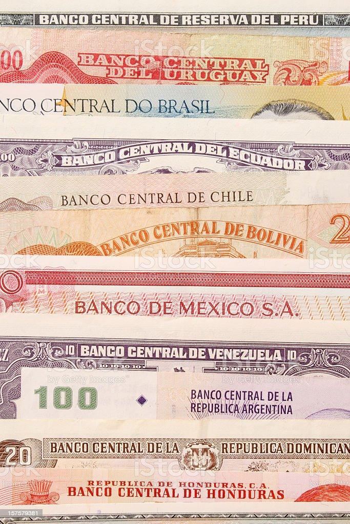 Latin american currencies stock photo