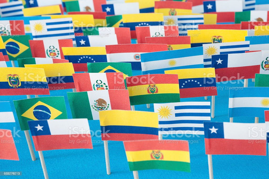 Latin American flags stock photo