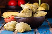 Latin American food. Traditional homemade humitas of corn