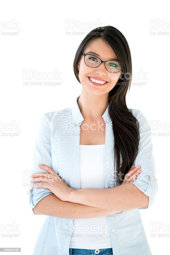 Latin American woman wearing glasses stock photo