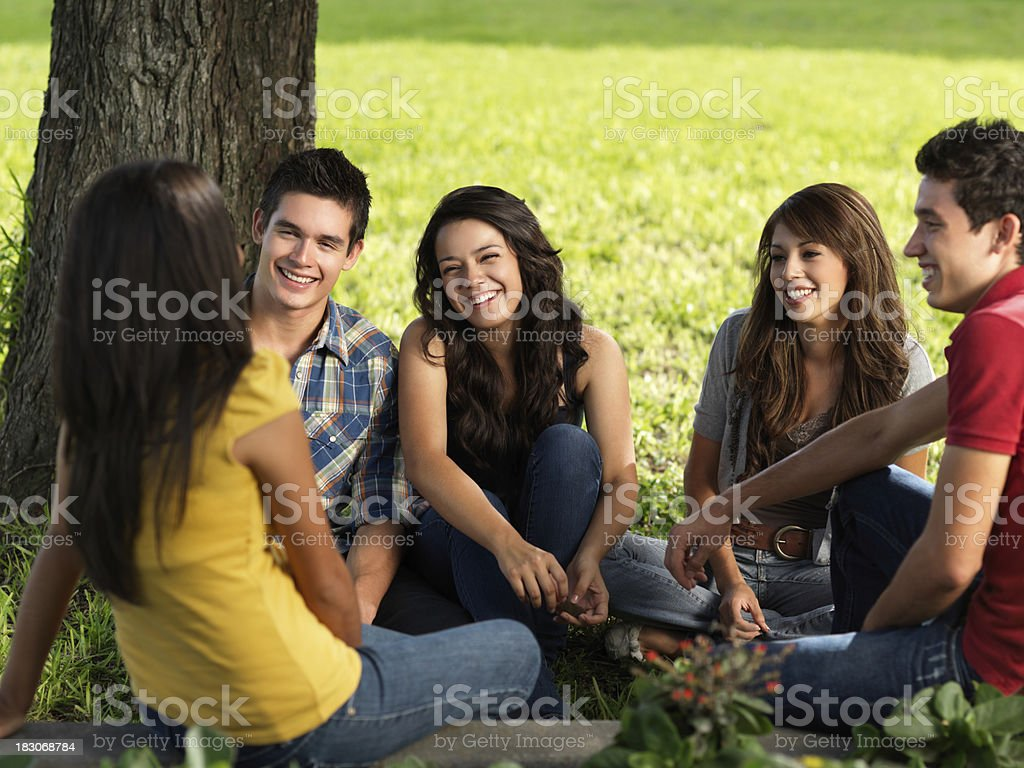Latin boys and gils hanging out royalty-free stock photo