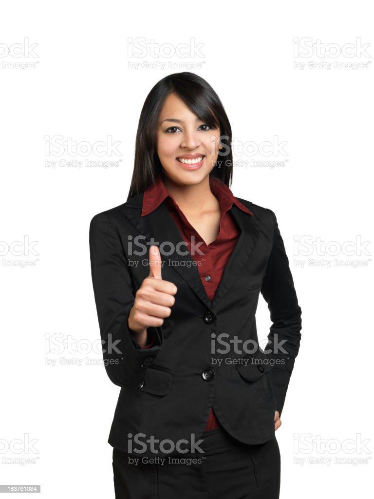 Latin businesswoman making thumbs up royalty-free stock photo