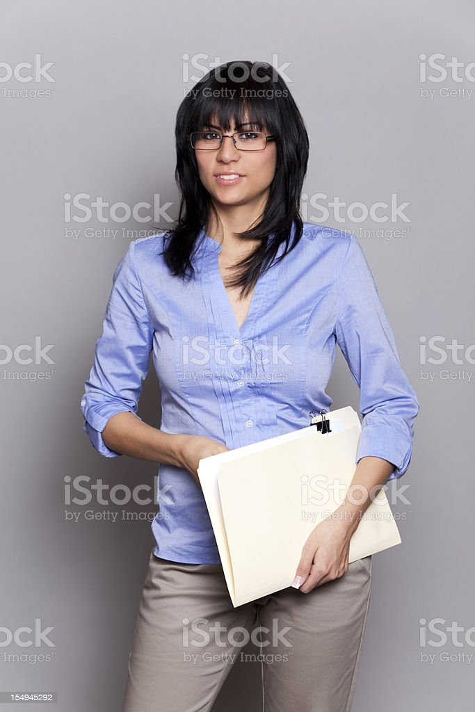 Latin businesswoman with glasses stock photo