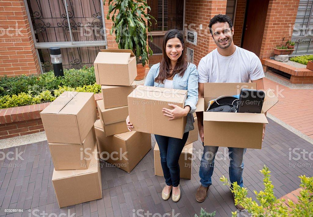 Latin couple moving house stock photo