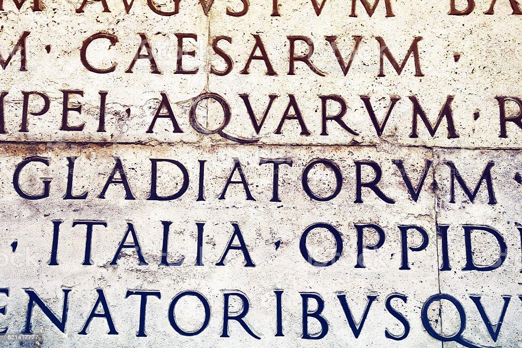 Latin inscription in Rome, Italy stock photo