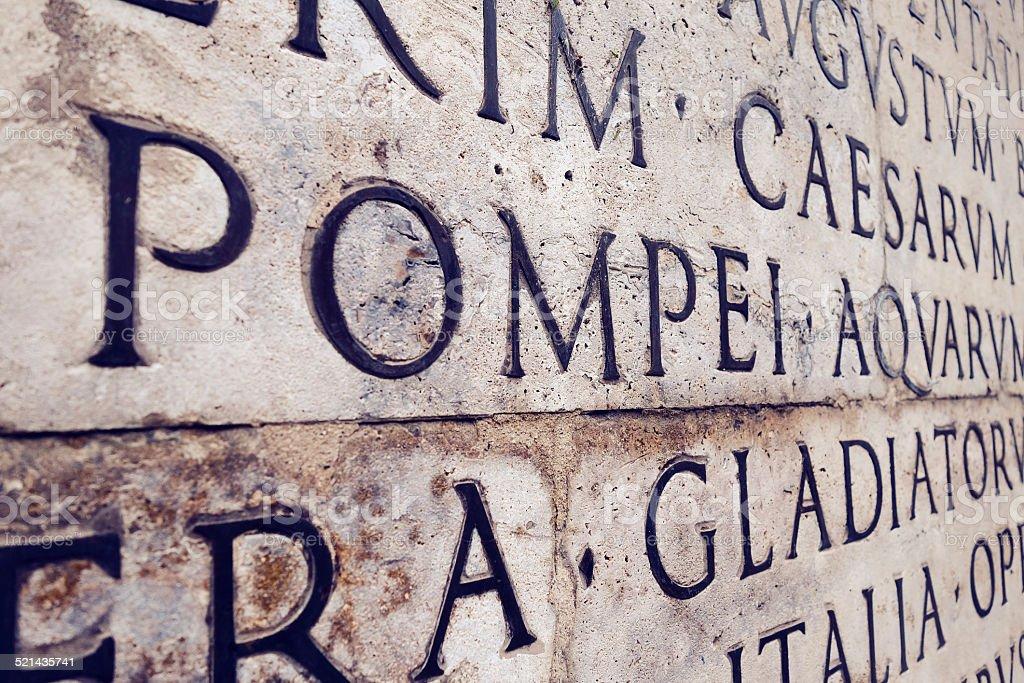Latin inscription stock photo