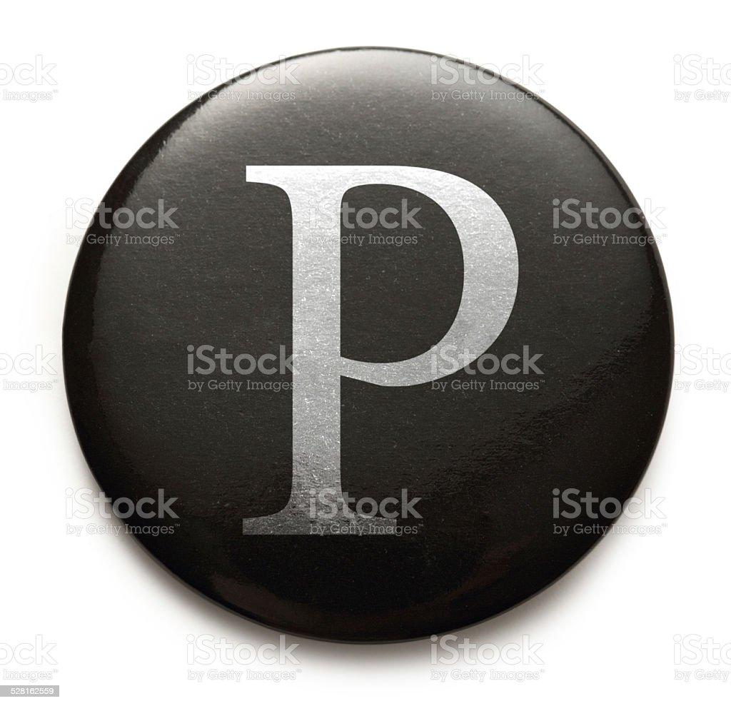 Latin letter P stock photo