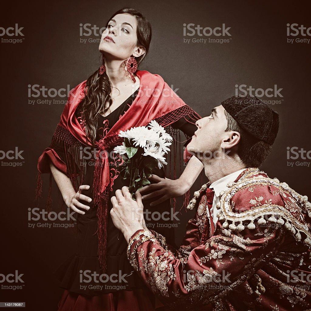 Latin lover failure, bullfighter declaring his love. royalty-free stock photo