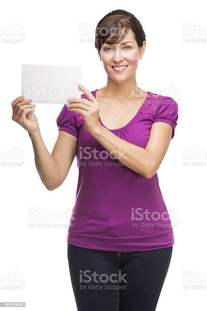 Latin mature woman holding card royalty-free stock photo