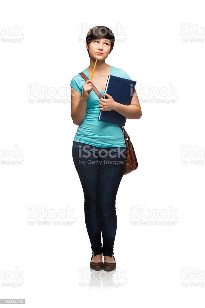 Latin schoolgirl thinking stock photo