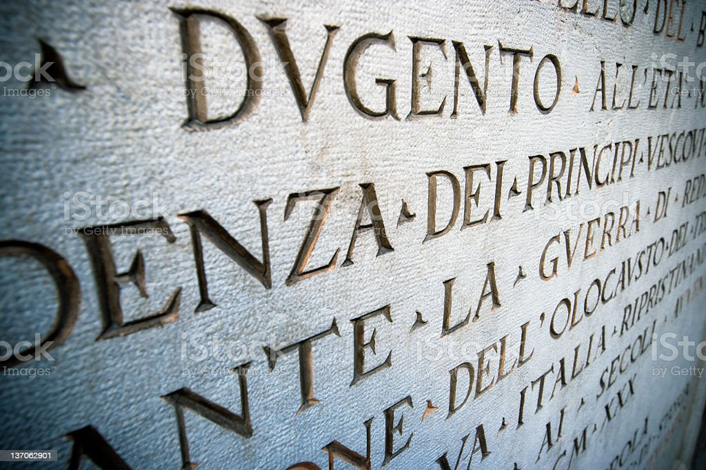 Latin script about the first World War into Marble royalty-free stock photo