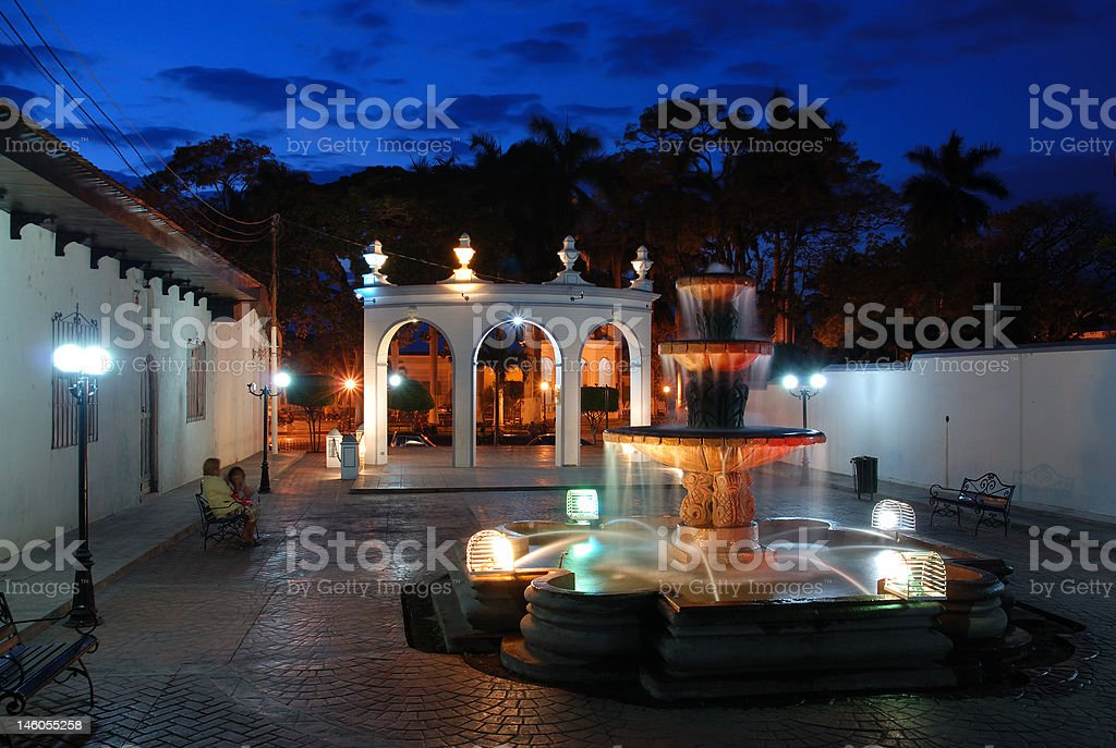 Latin town at Sunset stock photo