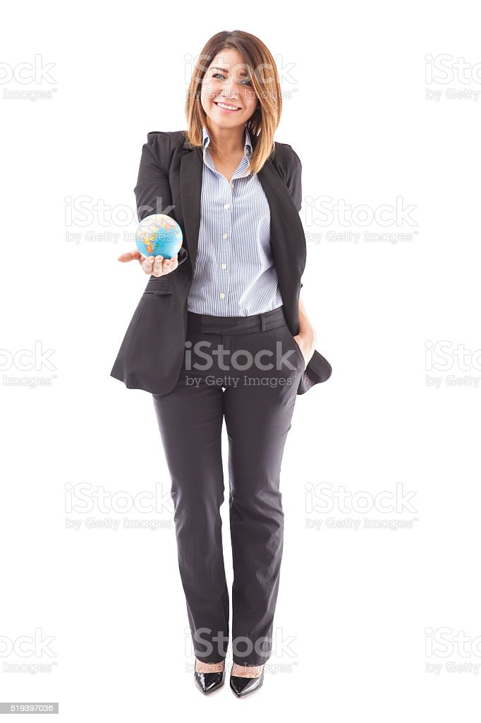 Latin travel agent with a glove stock photo