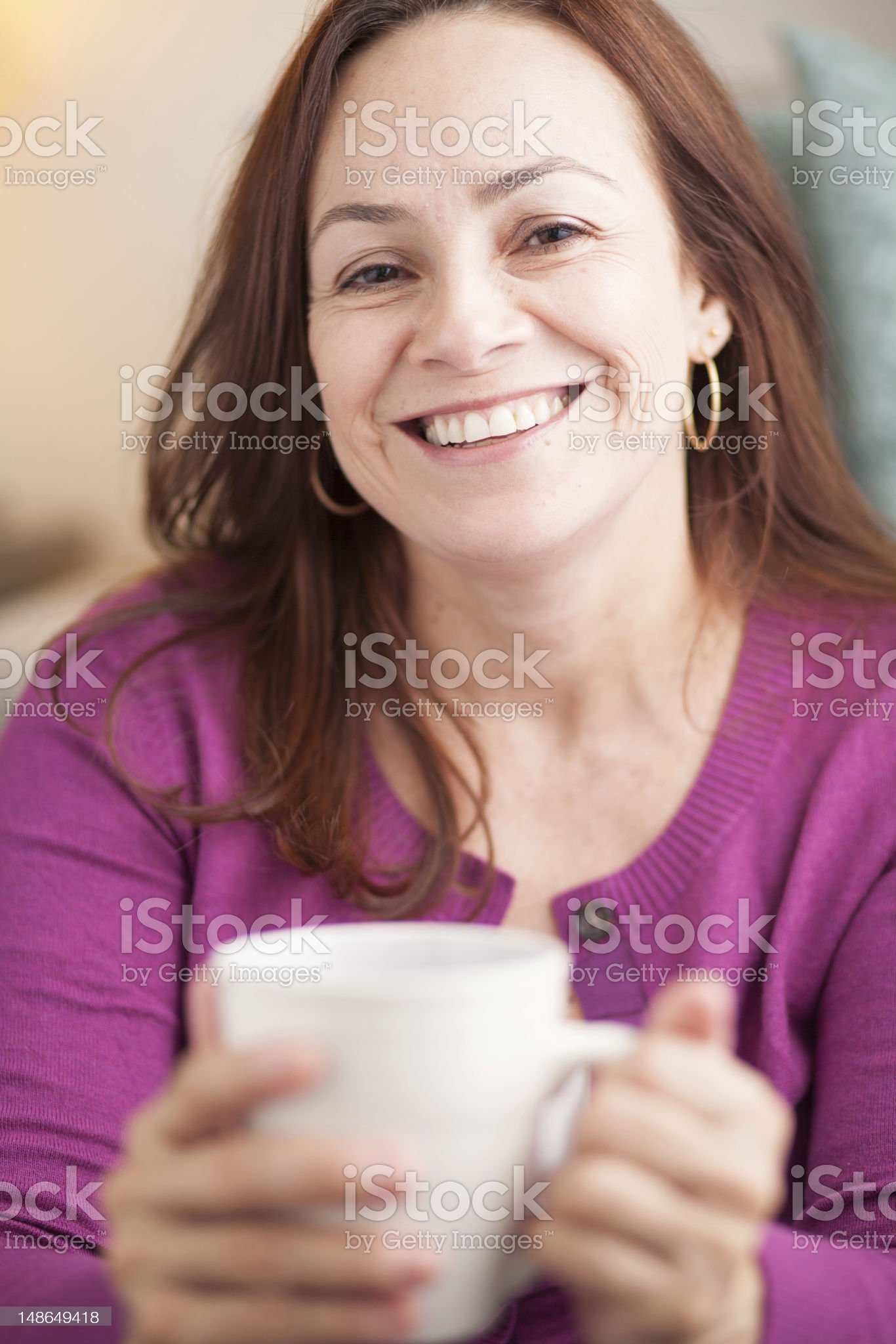 latin woman drinking coffee royalty-free stock photo