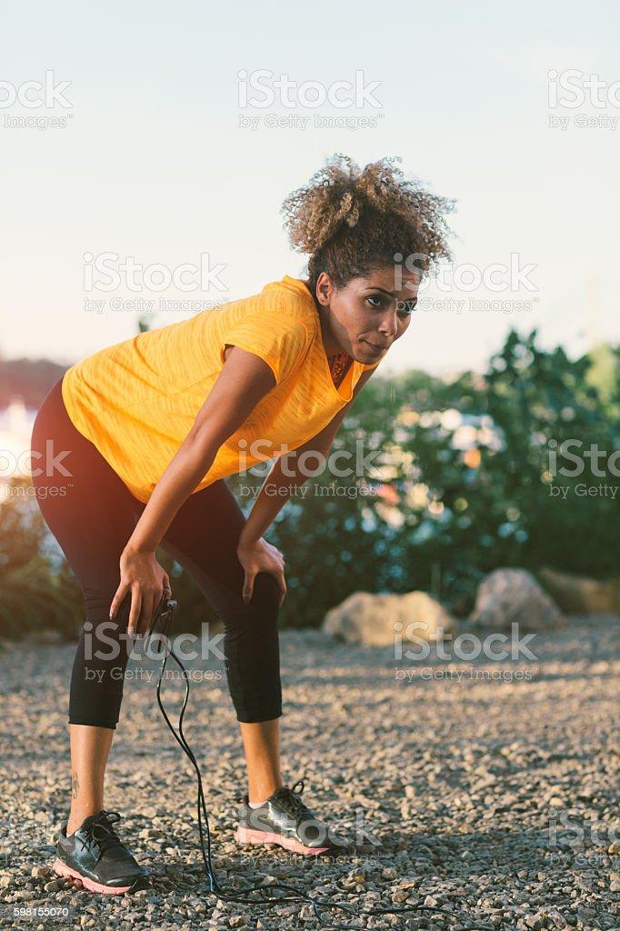 Latin Woman Exercising stock photo