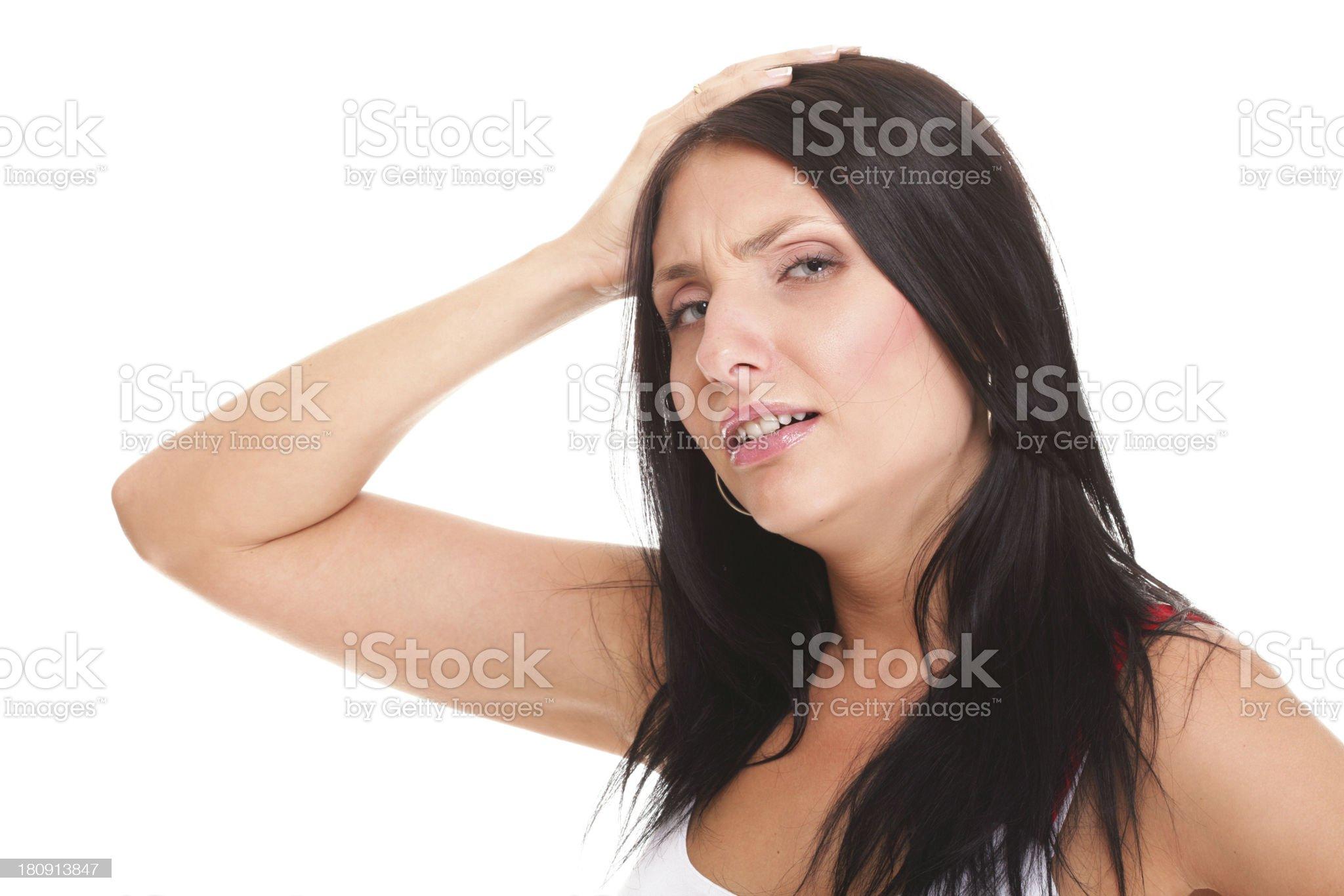 Latin woman suffering from headache royalty-free stock photo