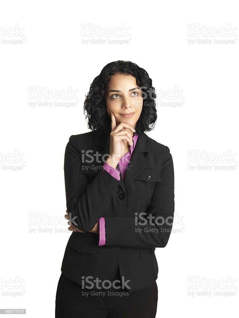 Latin woman thinking royalty-free stock photo