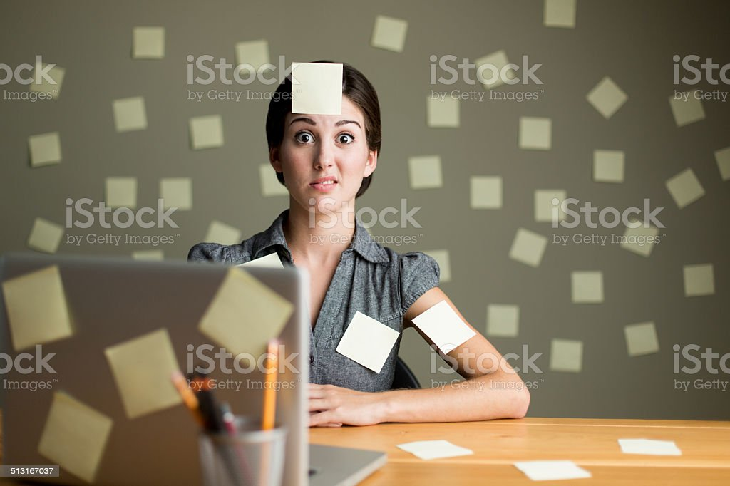Latin woman with post its stock photo