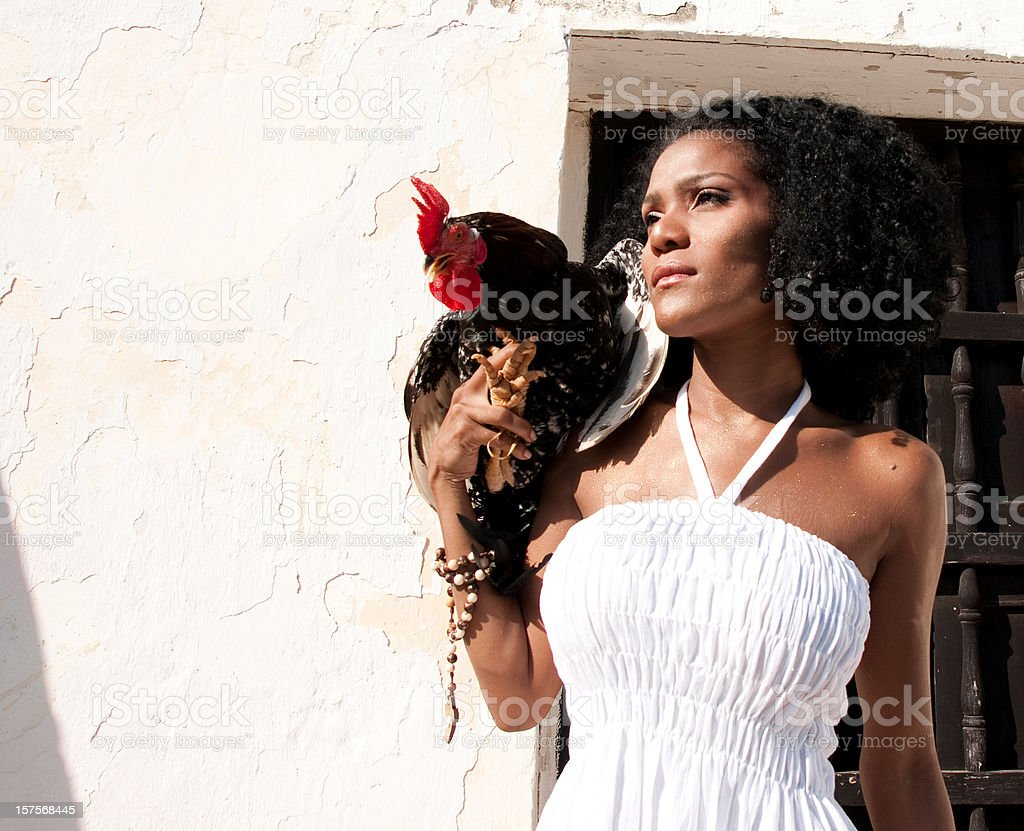 Latin Woman With White Dress Holding a Rooster royalty-free stock photo