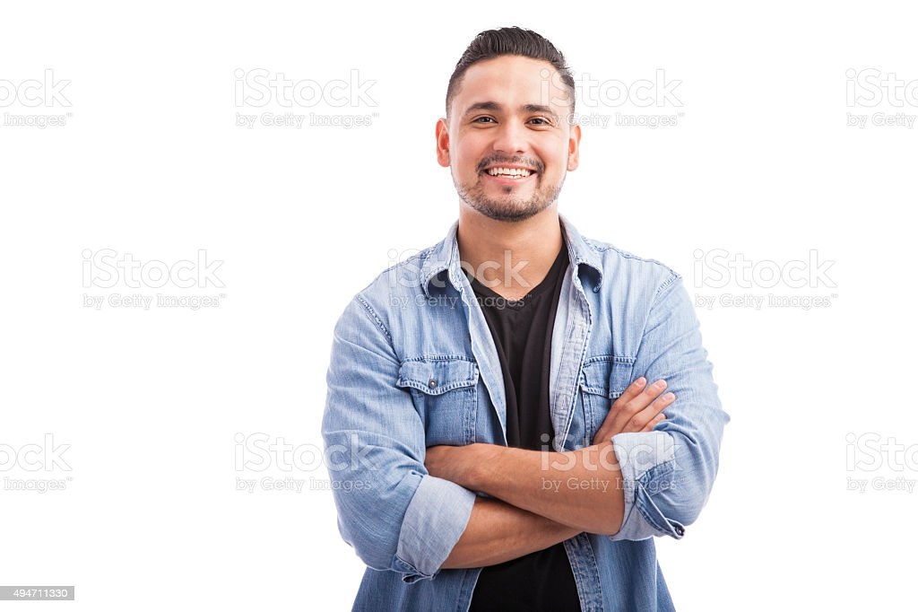 Latin young man in a studio stock photo