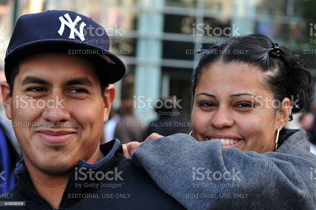 Latino Americans couple in Manhattan New York stock photo
