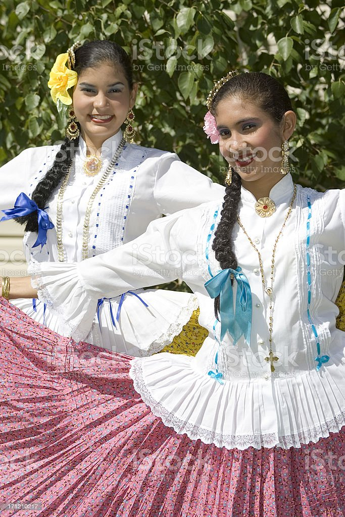 Latino Dancers in Traditional Dress royalty-free stock photo