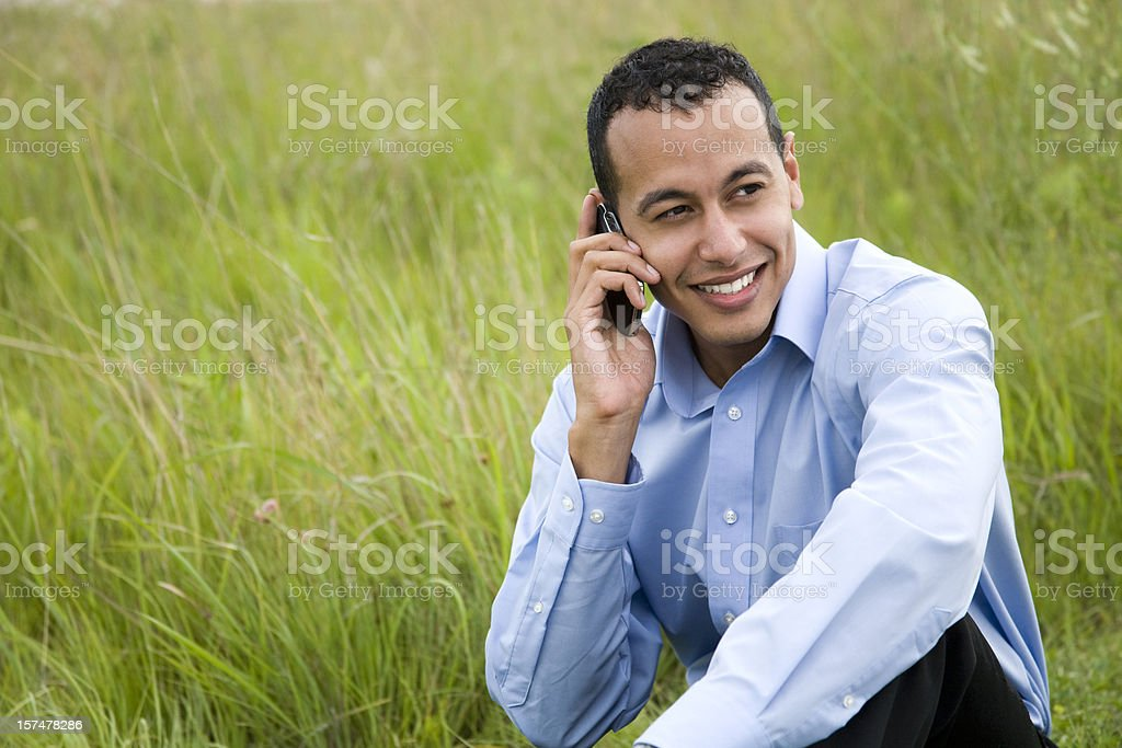 Latino male on cell phone royalty-free stock photo