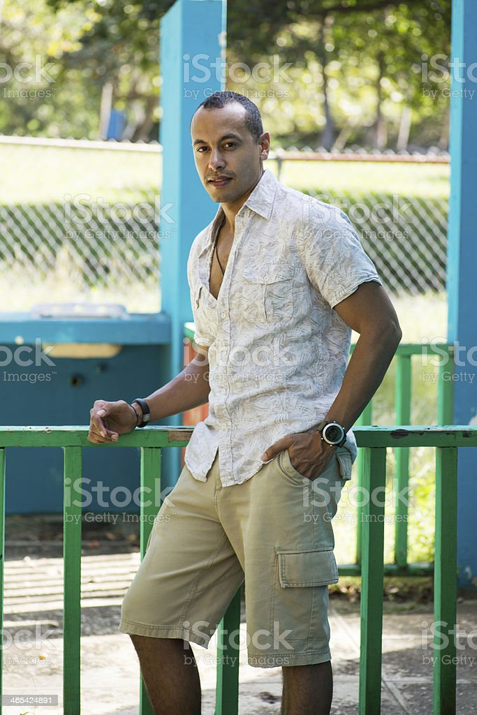 Latino male on vacation stock photo