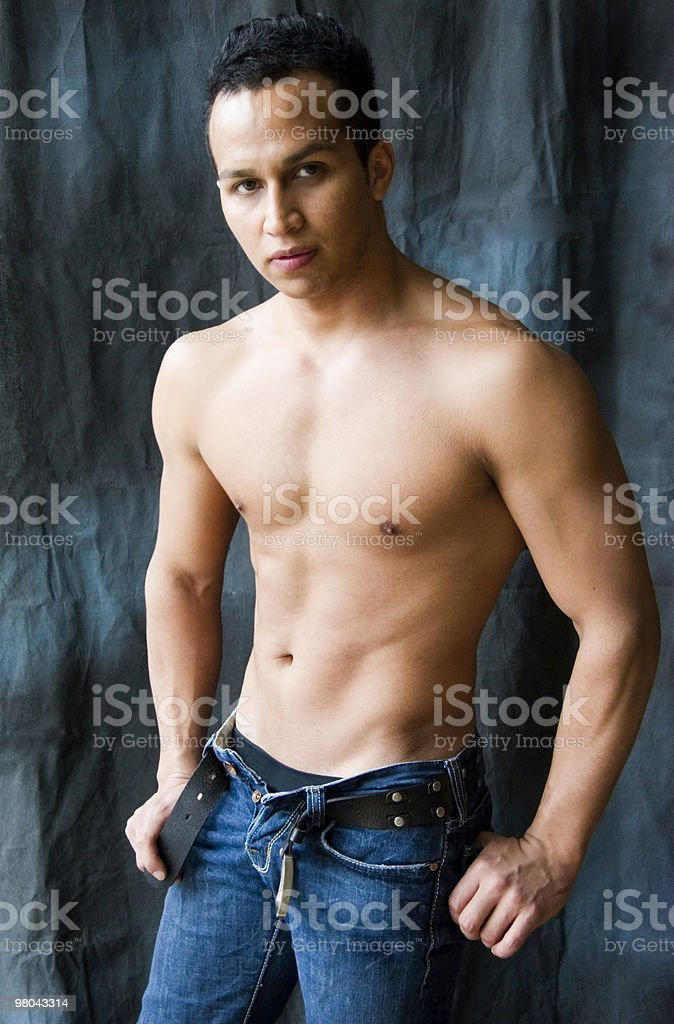 Latino Man with Muscled Torso stock photo