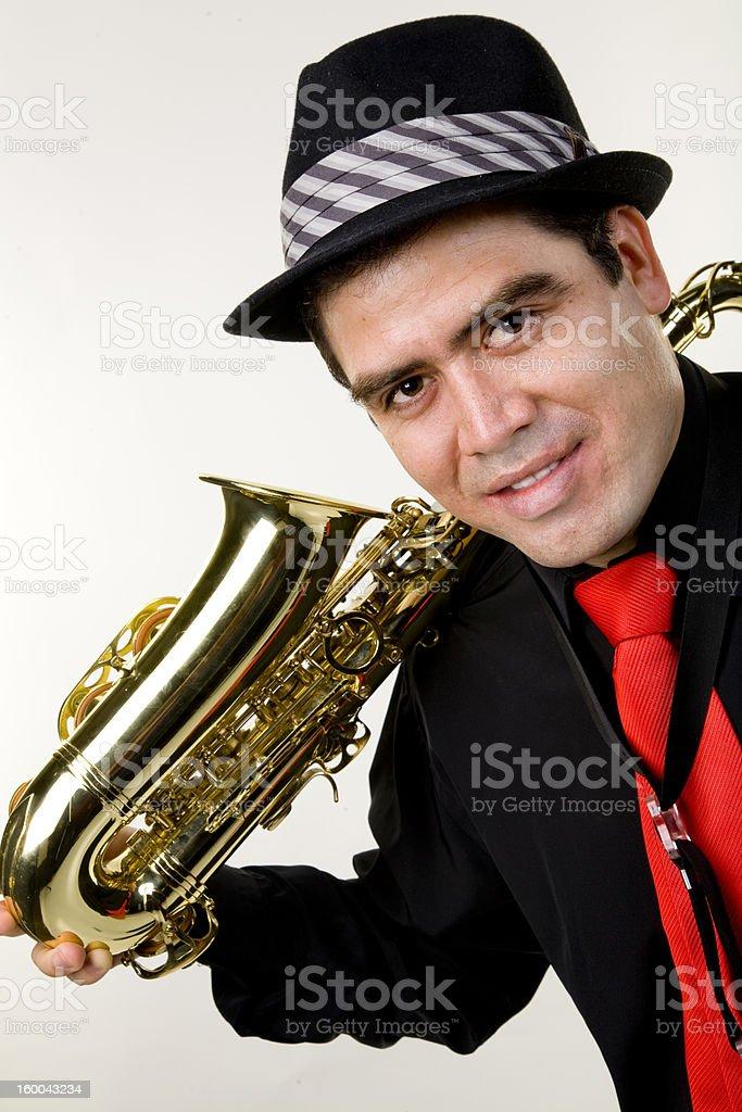 Latino Saxophone Player royalty-free stock photo