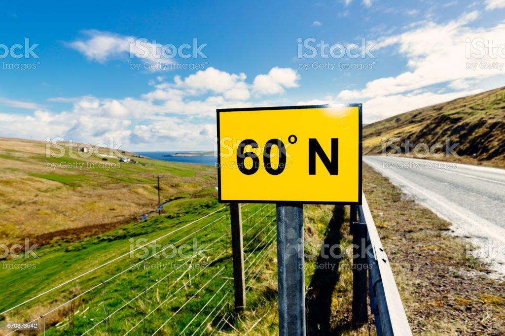 Latitude 60 degrees north sign, Shetland Islands, Scotland stock photo