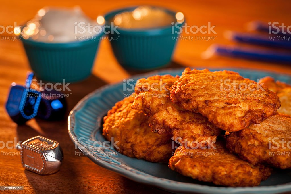Latkes and Candles stock photo
