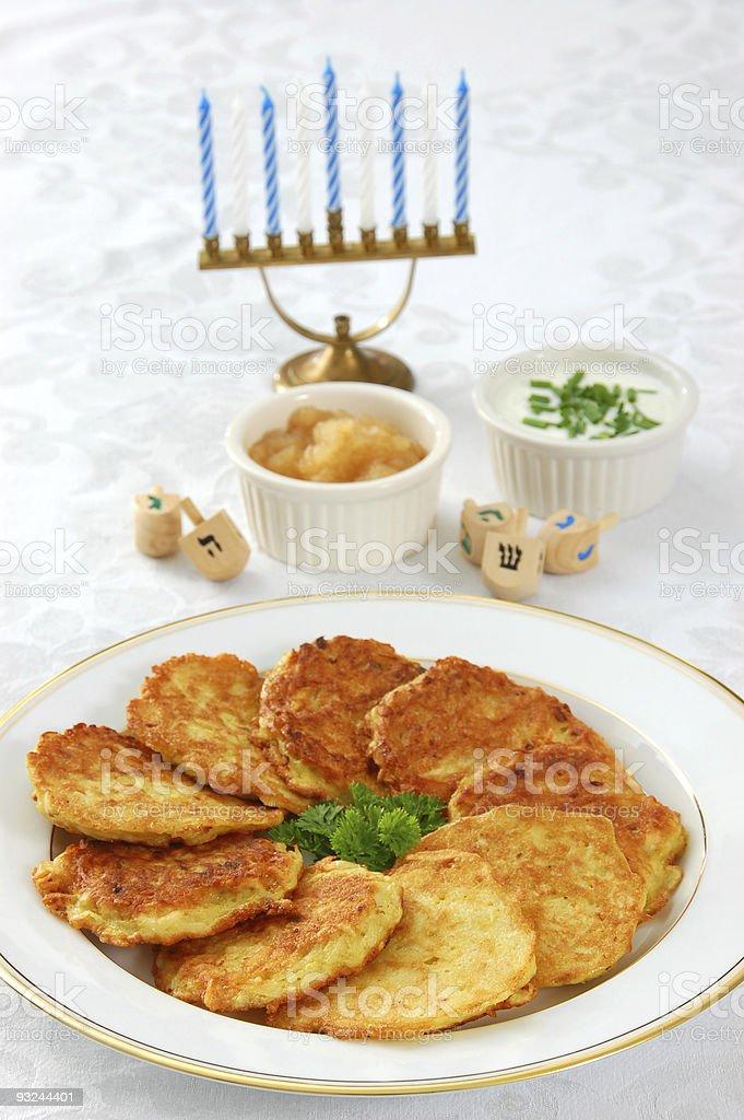 Latkes for Chanukah stock photo
