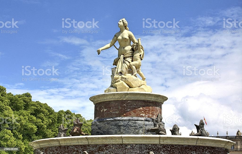 Latona fountain in front of Herrenchiemsee stock photo