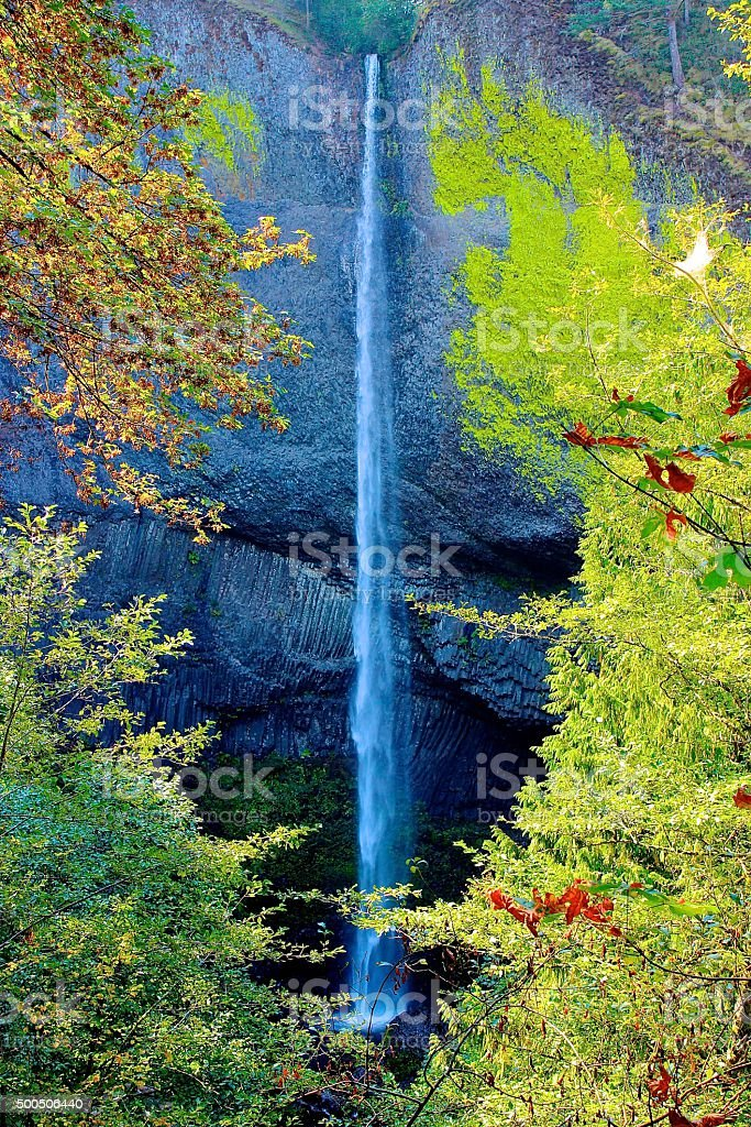 Latourell Falls Along Columbia River Highway stock photo