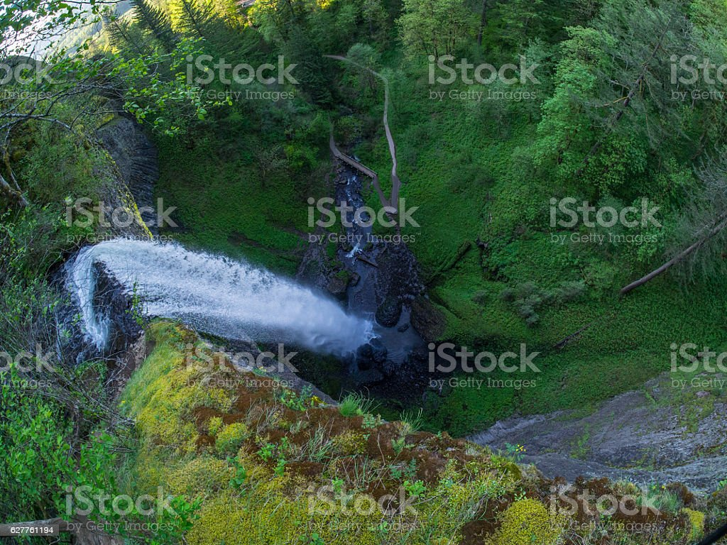 Latourell Falls from above stock photo