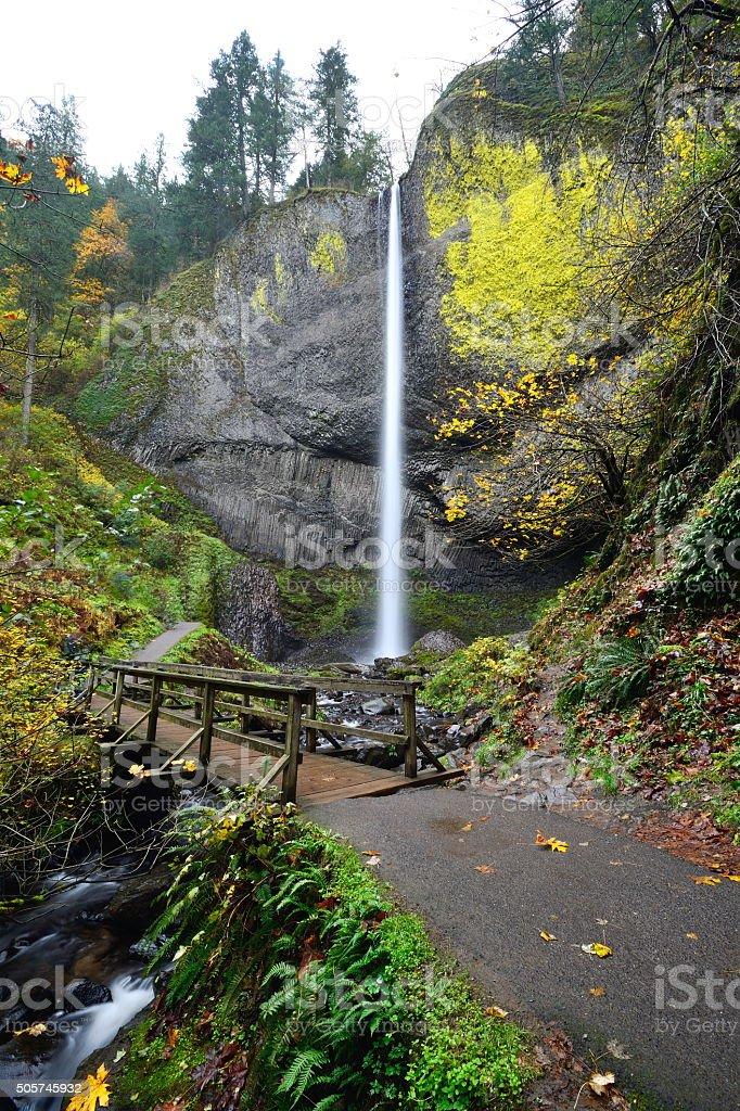 Latourell Falls in autumn, OR stock photo