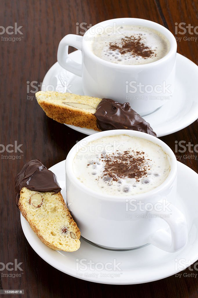 Latte and biscotti royalty-free stock photo
