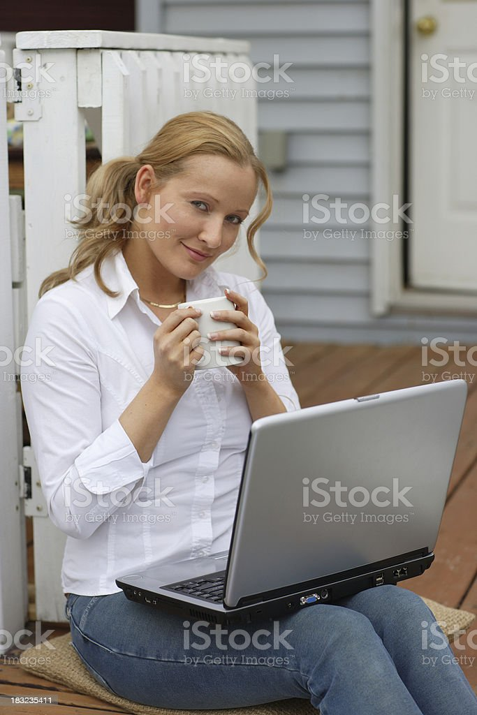 Latte and laptop royalty-free stock photo