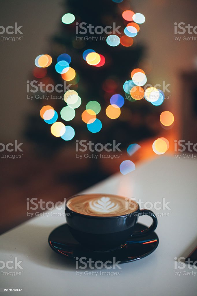 Latte Art and Bokeh stock photo